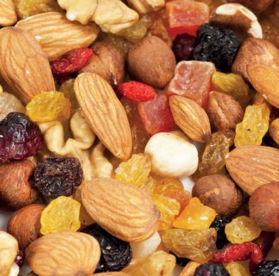 Quantité de fibres (en g) pour 100g de fruits secs ou oléagineux